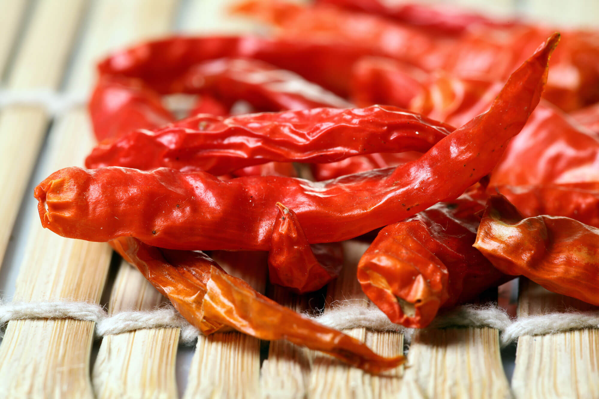 red dry chillies table